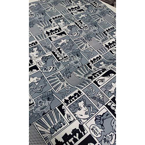 TOMASELLI MERCERIA Tessuto Fumetti Alto 150 cm Comfort Stampato Bianco e Nero