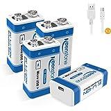 Keenstone 9V USB Pilas Recargables, 4 Pack 650mAh Li-Ion Bateria con 2pcs Micro USB Cables, 2 Maneras de Carga y 500 Ciclos,