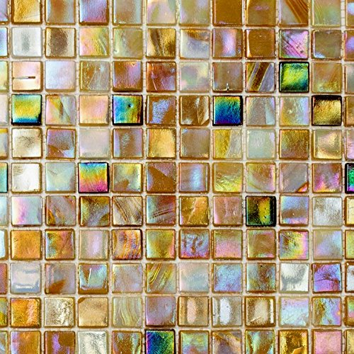 Mosaik Fliese Glas sandfarbend für BODEN WAND BAD WC DUSCHE KÜCHE FLIESENSPIEGEL THEKENVERKLEIDUNG BADEWANNENVERKLEIDUNG Mosaikmatte Mosaikplatte (Glas-mosaik-boden)