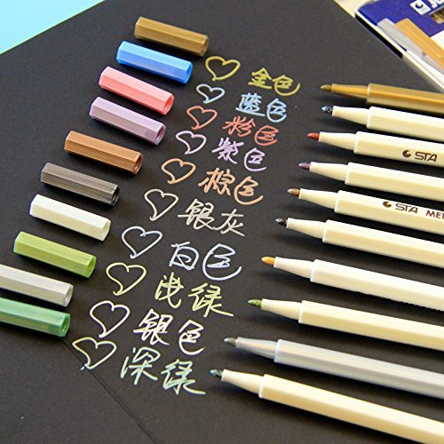vstoy-set-of-10-colors-metallic-marker-pens-gold-silver-white-pink-ink-card-making-new