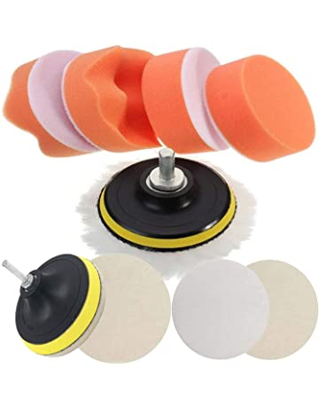 Paint Care Volwco Car Polishing Sponge 1/4/6mm Cone Shaped Foam Sponge Buffing Waxing Polishing Sponge Pads Use With Power Drill For Automotive Car Wheels Hub Care