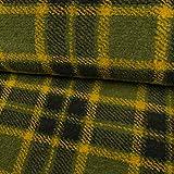 Wollstrick Karomuster grün gelb Modestoffe Winterstoffe - Preis Gilt für 0,5 Meter