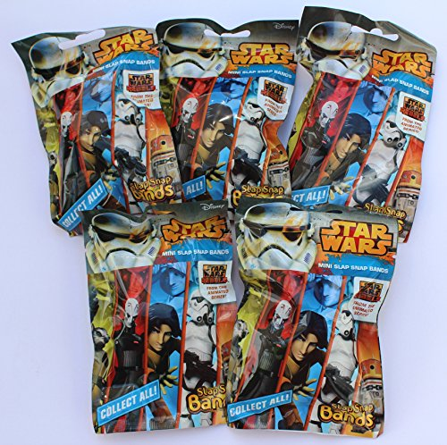 5 Tüten Star Wars Rebels Mini Slap Snap Bands -