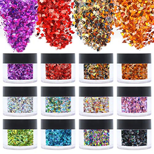 ANDERK Set di Polvere Glitter per Unghie, Glitter Cosmetici Lustrini 3D Brillantini Decorazioni per Ombretto,Trucco, Nail Art, 12 colori assortiti 20ml