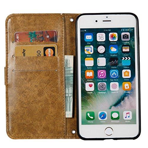 Coque iPhone 7 Plus, iPhone 7 Plus Coque Portefeuille, SainCat Ultra Slim Flip Cover pour iPhone 7 Plus, Bookstyle Etui en PU Cuir Coque Etui Cuir Anti-Scratch Cover Coque Cuir Coque Caoutchouc Étui P Marron #1