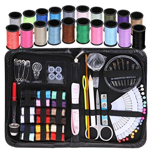 Kit de Costura HOSPORT 107 Suministros de Costura para Principiantes de Bricolaje, Sastre, con 38 Carretes de hilo, Set de Costura, Kit Costura para el Hogar, Viaje (negro)