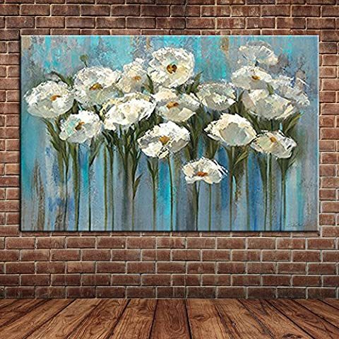 IPLST@ Hand Painted Flowers Oil Painting Blue Canvas Art Wall Picture Decoration-24x36inch ( No frame ,without