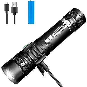 LED Taschenlampe, Winzwon USB Wiederaufladbare Taschenlampen, LED Taschenlampe Extrem Hell, Wasserdicht Flashlight mit 4 Modi für Kinder, Outdoor Camping Wandern (Inklusive 18650 Batterie)