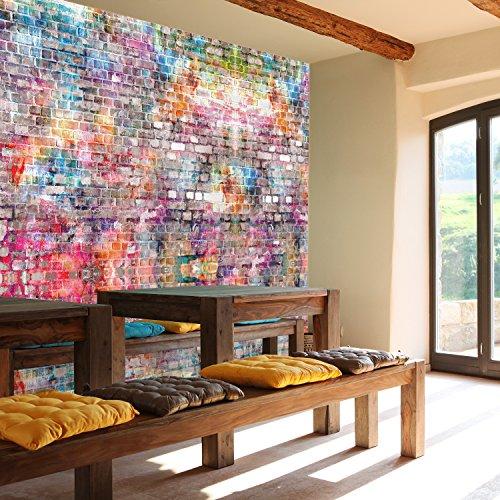 *Fototapete Steinwand 366 x 254 cm Kinderzimmer Steinwand Graffiti bunt Grunge Vintage Wall Art Jungen Grafitti Tapete inklusiv Kleister livingdecoration*