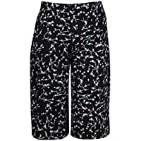 Womens Plus Size Floral Spot Paisley Print Ladies Stretch Elasticated Waist Wide Leg Culottes Shorts