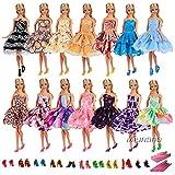 Miunana 15 pcs= 5 Abendkleid Prinzessin Kleidung + 5 paar Schuhe + 5 Bügel für Barbie Puppen Doll Partygeschenk Kindertag, mit CE-Zertifizierung
