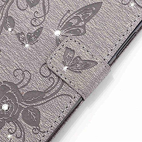 iPhone 5S Hülle Case,iPhone SE Hülle Case,Gift_Source [Karten Slots] [2 Trageschlaufe] [Kickstand] Blume Schmetterling Bling Diamant Entwurf PU LederHülle Case Tasche Hüllen Schutzhülle Scratch Magnet E01-04-Gray