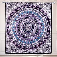 King Size indiano a mano arazzo decorativo, cotone, Hippie Elephant Mandala Arazzo, India Tapestry attaccatura di parete, copriletto, Boho Dorm Decor Casa & Wedding Decor