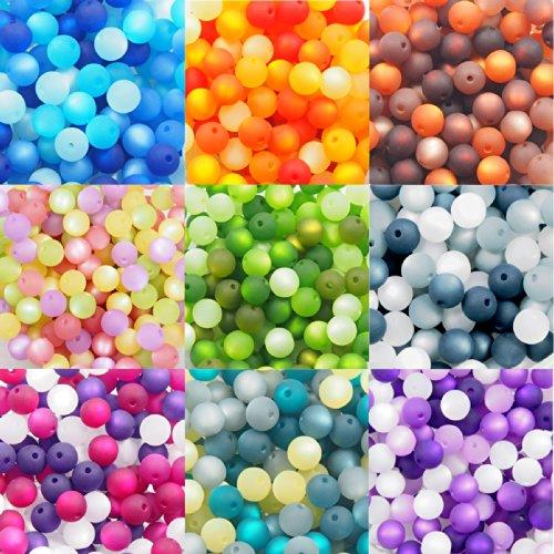 9er Set 01 mit je 20 Stück echte original Polarisperlen 8 mm, Perlenmix, folgende Mixe sind enthalten: blau, orange, braun, flieder-rosa, grün, grau, aubergine, petrol-grau, lila-flieder, Perlenmischung, Perlen zum Basteln, Perlenset, Perlen aus deutscher Produktion (Kunststoff-perlen-halskette Blaue)
