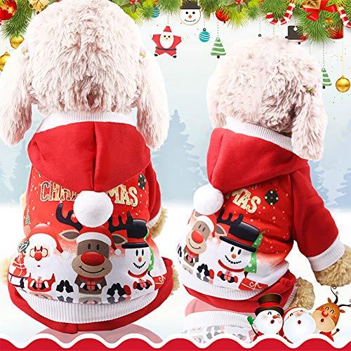 Mallalah Weihnachten Hundebekleidung Kostüm Weihnachtsmannkostüm Hund Hundemantel ,Hunde Pullover Mit Kapuze für Haustier Hund Katze Welpen