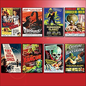 Classic B Movie Film Poster Kühlschrankmagnete – Set von 8 großen Kühlschrankmagnete No.2