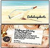 Einladungskarten zum Geburtstag als Flaschenpost Einladung Geburtstag - 10 Stück Geburtszagseinladung Schifffahrt Schiff Eintrittskarten Maritim