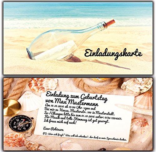 Individuelle personalisierte Einladungskarten für Erwachsene als Flaschenpost Einladung Geburtstag Feier - 90 Stück mit Ihrem Text und Druck