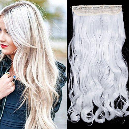 Extension capelli clip bianchi fascia unica 60cm extensions sintetiche capelli ricci ondulati con 5 clips 3/4 full head 120g - bianco