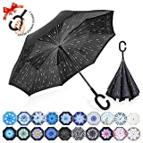 ZOMAKE Inverted Stockschirme, Innovative Schirme Double Layer, Winddicht Regenschirm, Freie Hand,Umgedrehter Regenschirm mit C Griff für Auto Outdoor (Regentag)