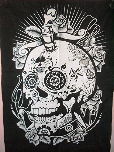 College-wohnheim-poster (Traditionelle Jaipur Totenkopf und Rosen, Indian Poster Wall Decor, Hippie Wandteppiche, Bohemian Wandbehang, Gypsy Wohnheim Room Dekorationen, Boho Art Wand, Größe 76,2x 101,6cm Viel Glück Wandtattoo)