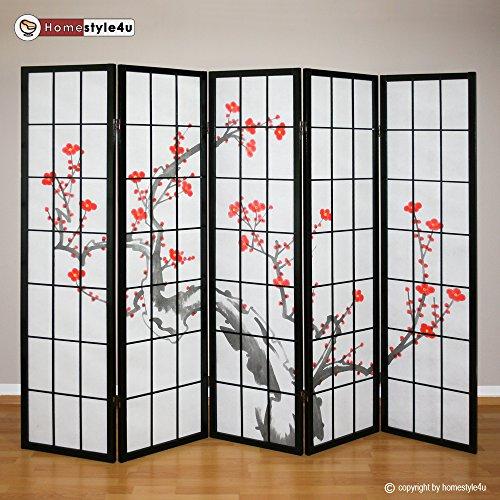 Homestyle4u 151 Paravent 5 teilig Raumteiler 5 fach Holz Schwarz Shoji Reispapier weiß mit Kirschblüten Trennwand Spanische Wand Sichtschutz zusammenklappbar (Raumteiler Screen Shoji)