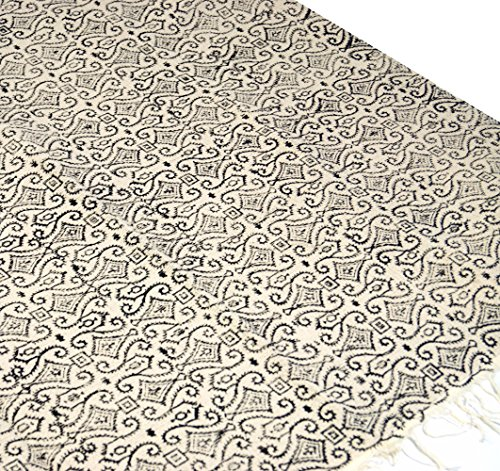 Guru-Shop Hangewebter Blockdruck Teppich aus Natur Baumwolle mit Traditionellem Design -...