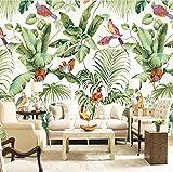 Mural de papel pintado Estilo Europeo Flor de Selva Tropical Pintura de Aves Revestimiento de pared Sala de estar Dormitorio Foto Papel Tapiz-350cmx255cm