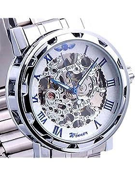 YPS-mechanische Skeleton Mens-Edelstahl-Armbanduhr (blau) WTH8043