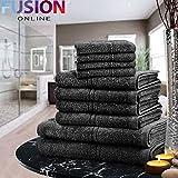 LUXURY TOWEL BALE SET 100% EGYPTIAN COTTON 10PC FACE HAND BATH BATHROOM TOWELS 9 (FUSION) (TM) (Black)