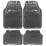 EUGAD 7108 Auto Fußmatten Set, ALU Look, Kunststoff, Protector, 4-teilig, universal, Luxus Design, Grau