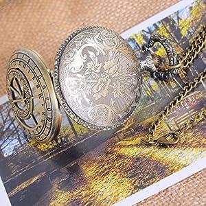 Souarts - Reloj de bolsillo redondo, con 12 constelaciones y números romanos, hueco, de color bronce antiguo de Hellocrafts