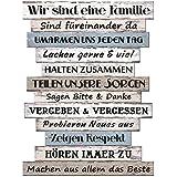 Holzschild 80x60cm Familienregeln Wandbild Familie Shabby Chic Vintage Deko