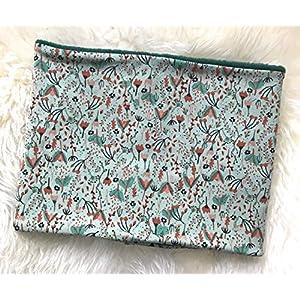 Baby Kleinkind Mädchen Loop Schal Innenseite aus Fleece Handmade Streublumen Motiv grün rost 9-18 Monate