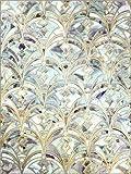 Holzbild 100 x 130 cm: Pale Helle Minze und Salbei Art Deco Marbling von Micklyn Le Feuvre