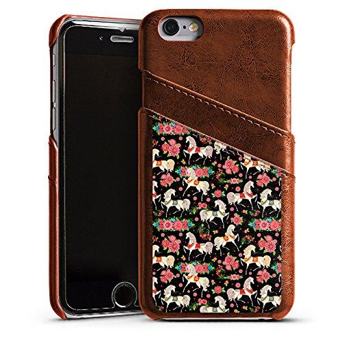 Apple iPhone 5s Housse Étui Protection Coque Chevaux Fleurs Fleurs Étui en cuir marron