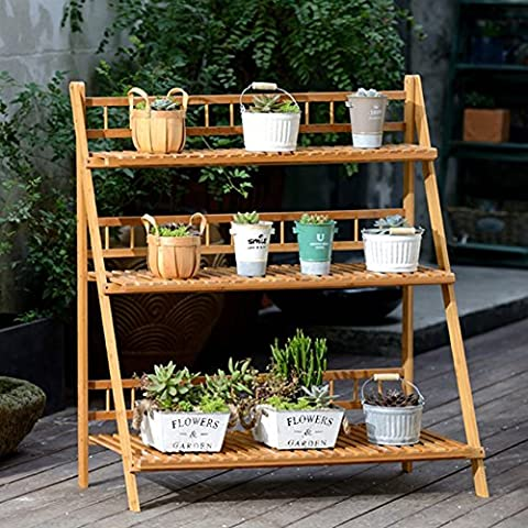 3-Tier Bamboo Flower Stand Foldable Balcony Plant Stand Multi-Function Shelves ( Size : 100cm )