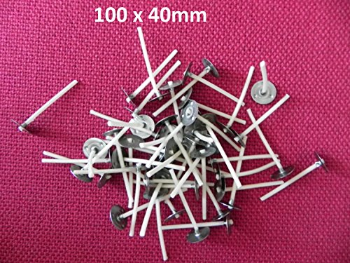 100 x 140mm Long Pre Waxed Wicks For Candle Making with sustainers