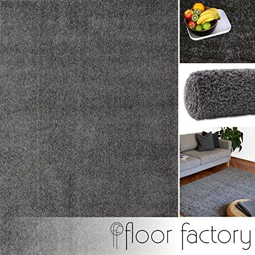 floor factory Hochflor Shaggy Teppich Colors grau/anthrazit 140x200cm - Pflegeleichter und günstiger Langflorteppich