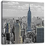 New Yorker Skyline mit Empire State Building schwarz/weiß, Format: 70x70 auf Leinwand, XXL riesige Bilder fertig gerahmt mit Keilrahmen, Kunstdruck auf Wandbild mit Rahmen, günstiger als Gemälde oder Ölbild, kein Poster oder Plakat