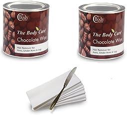The BodyCare Hot Chocolate Wax 600Gms (2Pcs) + 60 Pcs Waxing Strips + 1 Waxing Knife