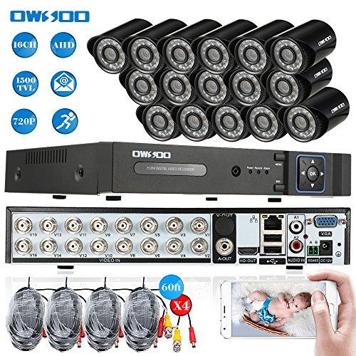 OWSOO 16CH Netzwerk Digitalrekorder + 16 * 720P 1500TVL AHD wasserdichte CCTV-Kamera + 16 * 60ft Überwachungskabel Unterstützung PTZ Android / iOS APP