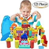 NEOWOWS NEOWOWS 121PCS Wooden Building Blocks Construction Toys For Kids Includes 41 Pieces Dominoes Set With Carrying Bag For Toddlers
