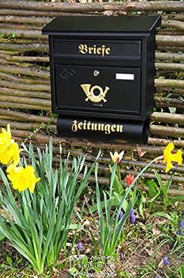 Design Massivstahl-Briefkasten, verzinkt mit Rostschutz F schwarz anthrazit grau großer Katalog Einwurf Zeitungsfach Nostalgie von BTV - Du und dein Garten