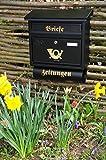 Wandbriefkasten,Briefkasten, Premium-Qualität aus Stahl, verzinkt, pulverbeschichtet F groß in schwarz anthrazit dunkel Zeitungsfach Zeitungen Post antik Mailbox Schild