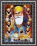 Avercart Guru Nanak Dev Ji with Govind Singh and all Ten Sikh Gurus Poster 13x18 cm with Photo Frame (5x7 inch framed)