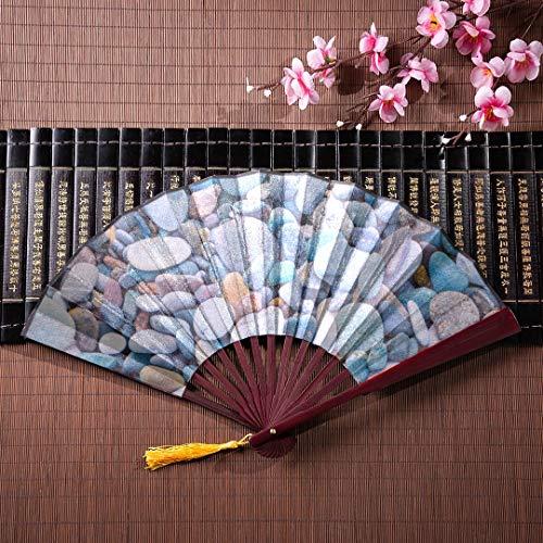 EIJODNL Hand Falten Fan glatt Runde Bunte River Rocks mit Bambus Frame Quaste Anhänger und Stoffbeutel Hand Fan Geschenke japanische großer Fan Hand Falten Fan - River Rock Frame