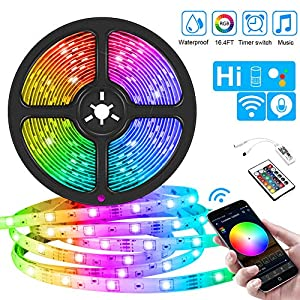 WiFi LED Strips Lights, 5M IP65 Waterproof Smart Rope Lights RGB 5050 Color Changing Music Sync, Voice Control Compatible with Alexa Echo, Google Assistant, Decoration for Home Garden Party Bar