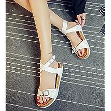 ZKOO Sandalias Mujeres Romanas Vendaje Zapatos de Hebilla Punta Abierta Sandalias Planas Zapatos de Playa