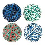 Set von 4Colorful Gummi Band Bälle–Elastische Gummi Bands Pack, Gummi Band Bälle für Heimwerker, Arts & Crafts, Dokument Organisation, weiß, grün, schwarz, rot, blau